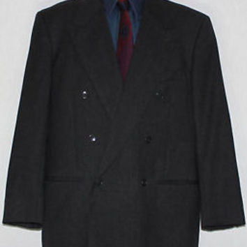 Mani Giorgio Armani Double Breasted Blazer 41S R Charcoal Pure Wool Z7