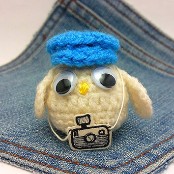 Amigurumi,crochet owl,owl photographer with blue hat + camera . Owl plus toy. Owl plushie