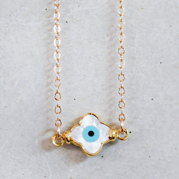 Mother of Pearl Evil Eye Clover Necklace