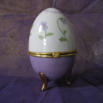 Egg Easter violet box Porcelain  ceramic  pottery Purple White, green leaves Easter, Spring Anytime, Hand Painted and Kiln Fired by B Marsh