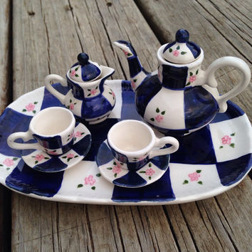 Miniature Tea Set, Fairy Garden, Hand-Painted Doll Furniture, Toy Tea Set, Girls Tea Time, Garden Party