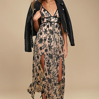Somedays Lovin' Dusk Black and Nude Embroidered Maxi Dress