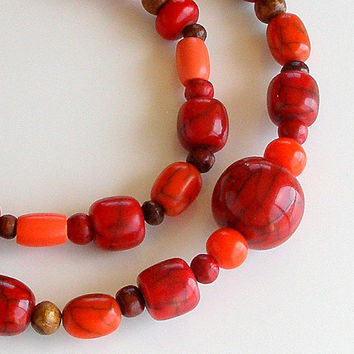 Vintage Statement Necklace Big Chunky Beads Bold Red & Orange Beaded Necklace