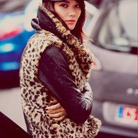 Free People Leather And Leopard Faux Fur Jacket