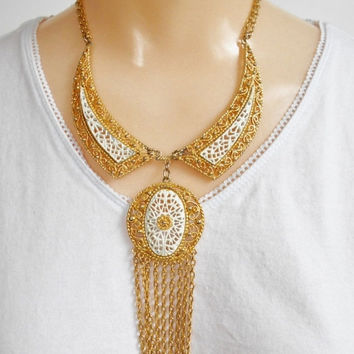 SALESave30 Vintage Bib Necklace, Large Gold Medallion Beaded Tassel Pendant, White Lattice Open Metal Work Victorian Gold White Necklace