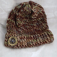 Hat Knit Multi Colored Hat and Bottle Cap Button on it Men or Women Maroon Blue Tan Blue Handmade