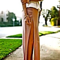 A3 Sexy Minimalist Thigh High Slit Ruched Fitted Split Long Maxi Skirt SML