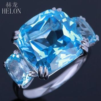 HELON 10K White Gold Prong Set Genuine Sky Blue Topaz & Diamond Engagement Ring for Women