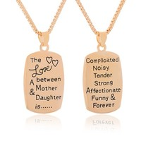 Encounter Gold Tone Love Between Mother & Daughter Pendant Chain Necklace 46.5cm