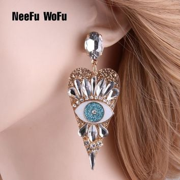 NeeFu WoFu Drop Resin Eye Heart shaped Earrings Brand Crystal Big Earring Large Long Brinco Ear Oorbellen Christmas Gift