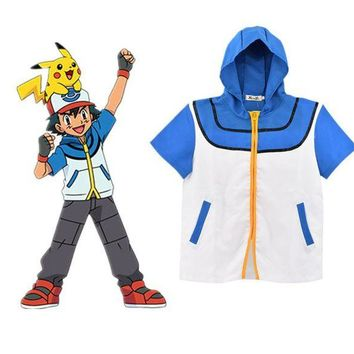 LMFON Pokemon Go Ash Ketchum Trainer Cosplay Jacket Coat Pocket Monster Costume Hoodie