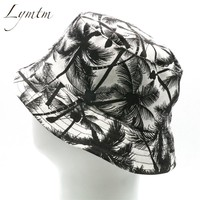 [Lymtm] Women Black Coconut Tree Print Panama Bucket Hat Men Hip Hop Bob Fishing Hat Casquette Bones Gorras Drop Shipping