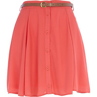 River Island Womens Coral chiffon button down skater skirt