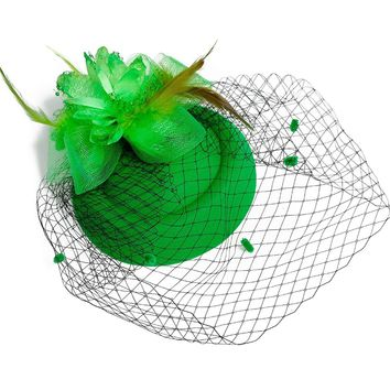 Fascinator Hats for Women Pillbox Hat with Veil Headband A Forked Clip Tea