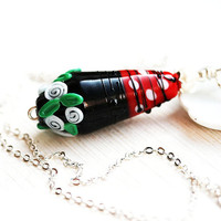 White rose Necklace, Lampwork Pendant, Red and Black, Flower Jewelry, White roses, SRA Lampwork Jewelry, Red glass pendant