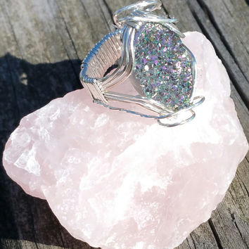 druzy ring wrapped in sterling silver size 6