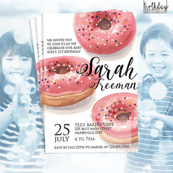 F+J: Donut Birthday Invitation - Donut Invitation - Donuts and Pyjamas - Sweet Celebration - First Birthday - Donut Baby Shower Invitation