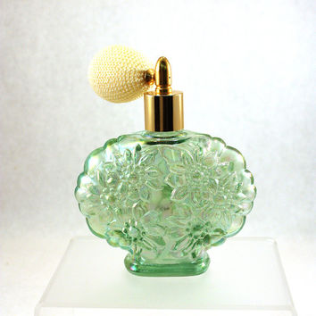 Vintage Sea Green Fenton Carnival Glass Atomizer Perfume Bottle // Carnival Glass // Irridescent // Atomizer // Fenton Perfume