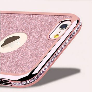 Cases For iphone X Glitter Bling Diamond Plating Frame Soft TPU Back Cover For Apple Iphone 5 5S SE 6 6s 6Plus 7 6Splus 7Plus 8