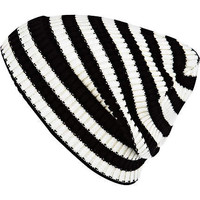 Black and white stripe turn up beanie hat