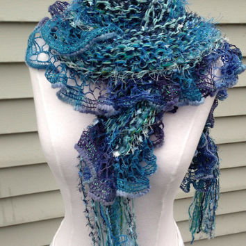 Blue hand knit multi yarn scarf, knitted sky blue, navy, turquoise, teal blue long fashion scarf, fuzzy blue soft with fun ruffle handmade