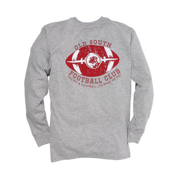 Exclusive Preppy and Football Long Sleeve Tee in Heather Grey by Southern Proper