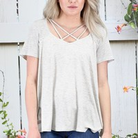 Strappy Stripes Blocked Top {H. Grey}