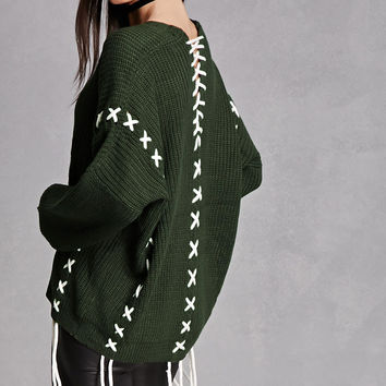 Oversized Lace-Up Sweater