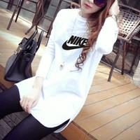 """""""Nike"""" Women Casual All-match Simple Letter Print Long Sleeve T-shirt Irregular Middle Long Section Bottoming Tops"""