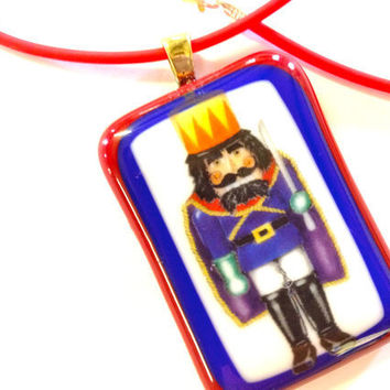 CIJ SALE Fused Glass Pendant Necklace Nutcracker King Red 304