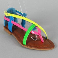 Bamboo Carnival-62 Colorblock Strappy Thong Flat Sandal