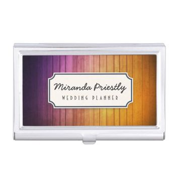 Chic Wood Texture Background Business Card Holder