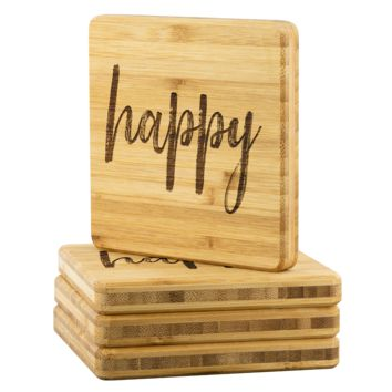 Happy Bamboo Coasters