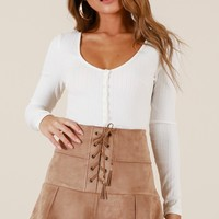 Like Crazy skirt in taupe suedette Produced By SHOWPO