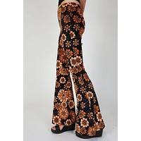 Black Retro Orange Floral Print Flare Pant