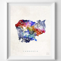 Cambodia Map, Asia, Print, Phnom Penh, Watercolor, Home Town, Poster, Country, Wall Decor, Painting, World, Living Room, Bed Room, Gift