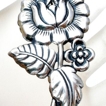 Vintage Sterling Silver Flower Brooch Pin by Jewelart