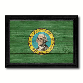 Washington State Flag Texture Canvas Print with Black Picture Frame Home Decor Man Cave Wall Art Collectible Decoration Artwork Gifts