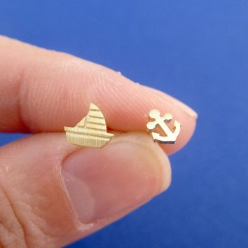 Tiny Sailboat and Anchor Shaped Nautical Themed Stud Earrings in Gold