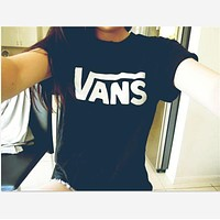 """Vans""Fashion short sleeve leisure T-shirt top Black white"