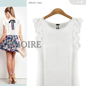 Women's O-neck Lotus Leaf Pullover Lacing Bow Chiffon Blouse
