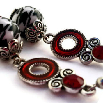 Houndstooth Bead Earrings / Crimson Charm Silver Swirl / One Of a Kind Jewelry