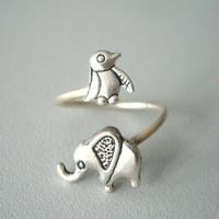 silver penguin elephant ring wrap style, adjustable ring
