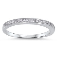 A Perfect .88TCW French Pave Russian Lab Diamond Wedding Band Ring