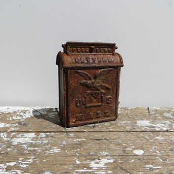 Cast Iron U S Mail Coin Bank Antique Bank with Eagle Rusty Decor