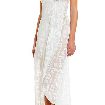 Nightgown - Bridal Opal Leaf Sheer Chiffon (Robe available) (Medium-Large)