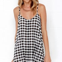 Glamorous All Righty Black and Ivory Plaid Print Dress
