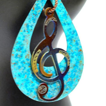 Treble Clef Necklace - Music Necklace - Copper jewelry - Verdigris Patina - Turquoise Pendant - blue pendant - stainless steel pendant