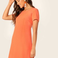 Neon Orange Tunic Dress