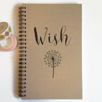 Writing journal, spiral notebook, cute diary, small sketchbook, scrapbook, memory book, 5x8 journal - Wish, dandelion